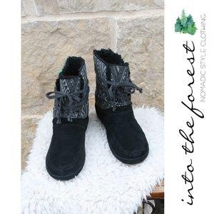 Sanuk Black Soulshine Chill Snow Short Boots Sz 9